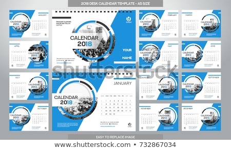 Foto stock: Calendar 2018 Grid Template