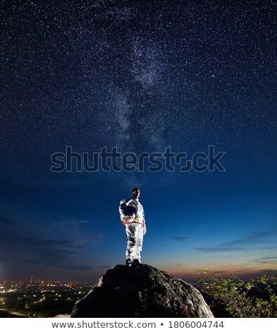 Astronauta em pé planeta ilustração trabalhar paisagem Foto stock © bluering