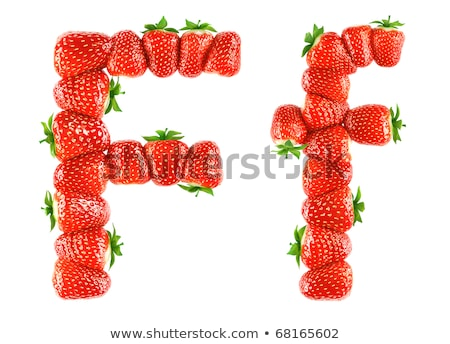 Letter F Strawberry font. Red Berry lettering alphabet. Fruits A Stock photo © popaukropa