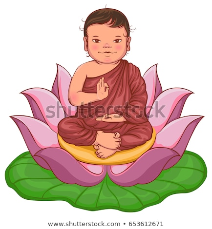 newborn buddha sits in lotus flower stock photo © orensila
