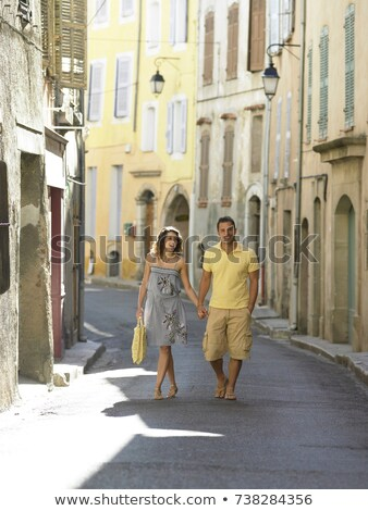 Couple walking down street in provence Stock photo © IS2