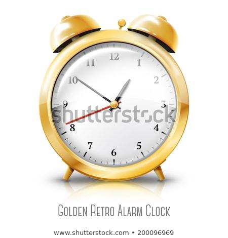 Arany ébresztőóra valósághű 3D izolált fehér Stock fotó © psychoshadow