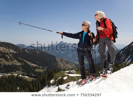 Ski tour bergen vrouw sport Stockfoto © IS2