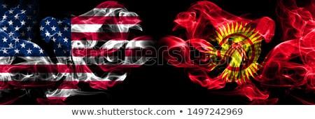 Voetbal vlammen vlag Kirgizië zwarte 3d illustration Stockfoto © MikhailMishchenko