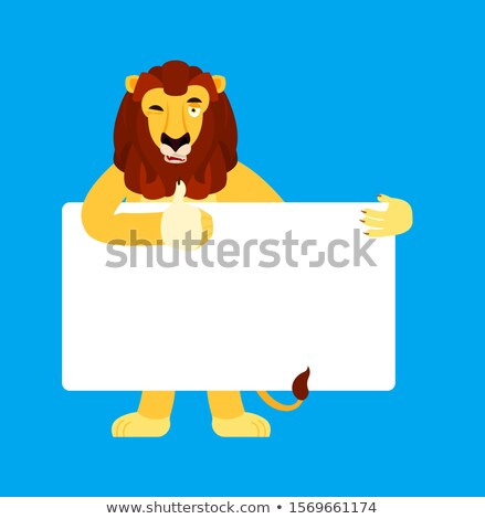 Lion holding banner blank. Wild animal and white blank. Beast th Stock photo © popaukropa