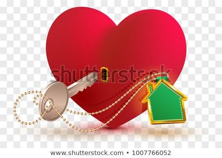 kulcstartó · illusztráció · fehér · ház · otthon · kulcs - stock fotó © orensila
