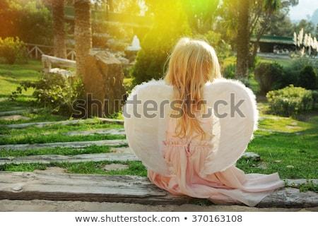 cute · engel · poseren · haren · zwarte · interieur - stockfoto © is2
