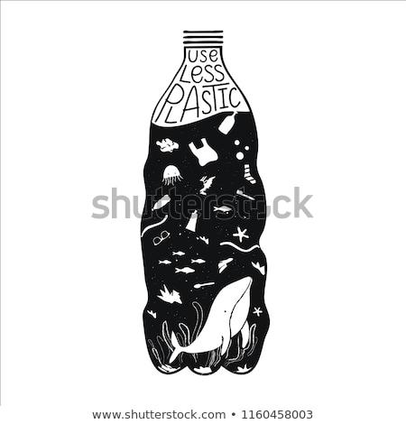 plastic · water · zak · oranje · witte · drinken - stockfoto © bezikus