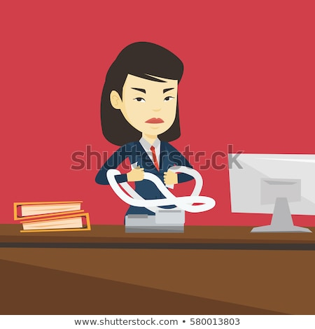 Angry business woman tearing bills or invoices. Stock photo © RAStudio