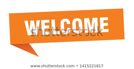 bem-vindo · assinar · detalhado · ilustração · vermelho · eps10 - foto stock © alexmillos