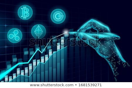 Hand and bitcoin. Cryptocurrency profit. Vector illustration Stock photo © popaukropa
