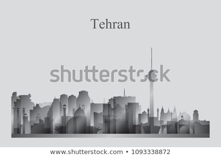 Tehran city skyline silhouette in grayscale Stock photo © Ray_of_Light