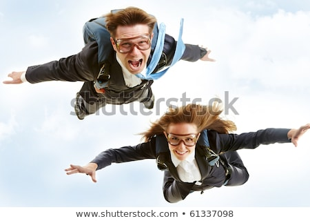 man and woman with parachute Stock photo © adrenalina