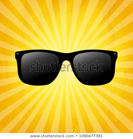 crumpled yellow sunburst background with sunglasses stock photo © adamson