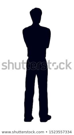 Silhueta isolado branco fundo adolescente sozinho Foto stock © robuart