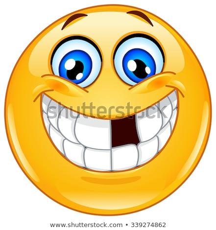 Emoticon desaparecido dentes sorridente dente feliz Foto stock © yayayoyo