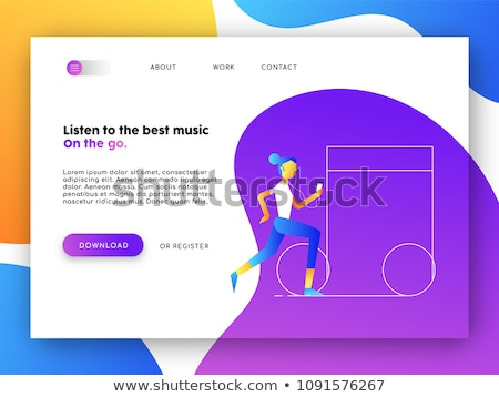 Music app web landing page for business marketing Stock photo © cienpies