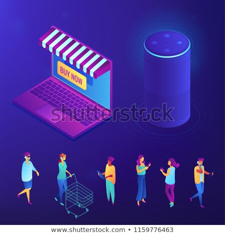online shopping and buying with smart speaker isometric set stock photo © rastudio