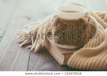 Gebreid sjaal warm beker thee twee Stockfoto © Illia