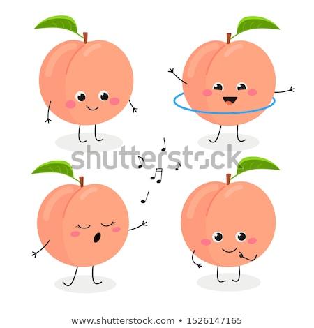 Desenho animado pêssego cantando ilustração comida fruto Foto stock © cthoman