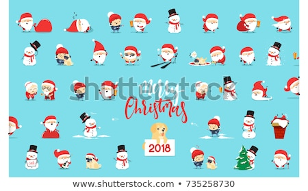 collection of stickers with christmas santa claus stock photo © heliburcka