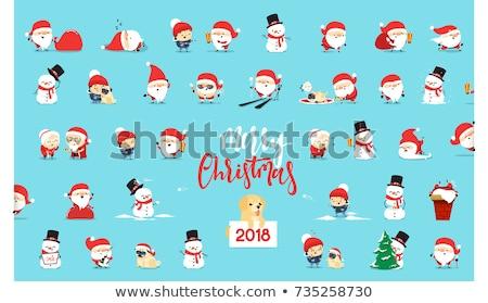 Рождества · Новый · год · Cute · Cartoon · Label · набор - Сток-фото © heliburcka