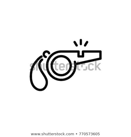 Pfeifen Symbol dünne line Design Sicherheit Stock foto © angelp