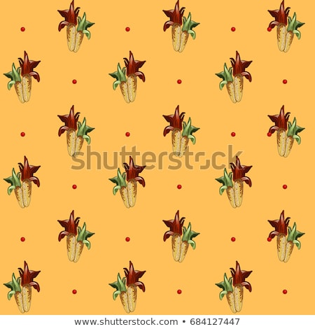 Stock photo: Funny seamless background with texture of the two ripe corn on the cob. Vector cartoon close-up illu