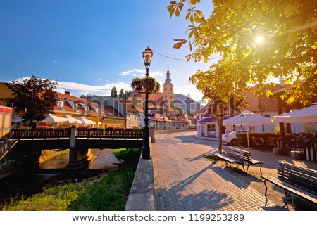 Samobor walkway and old streets sun haze view stock photo © xbrchx