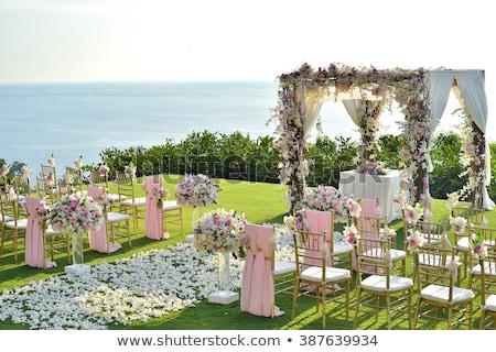 Mooie buitenshuis huwelijksceremonie outdoor wachten bruid Stockfoto © ruslanshramko