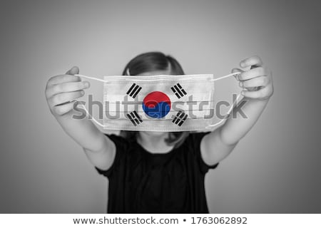 Cute girl and flag of South Korea Stock photo © colematt