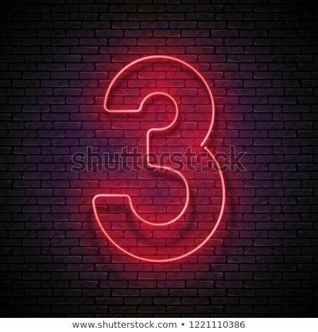 Klasszikus izzik szám három dizájn elem fényes Stock fotó © lissantee