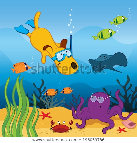 Cartoon Dog Diving Stock photo © cthoman