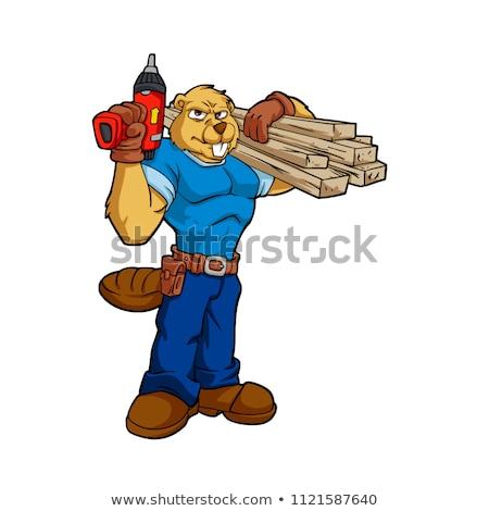Cartoon souriant travailleur de la construction ours Photo stock © cthoman
