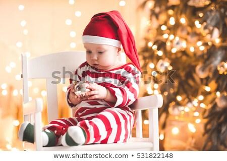 Stok fotoğraf: Noel · baba · oturma · sandalye · oda · küçük · kız