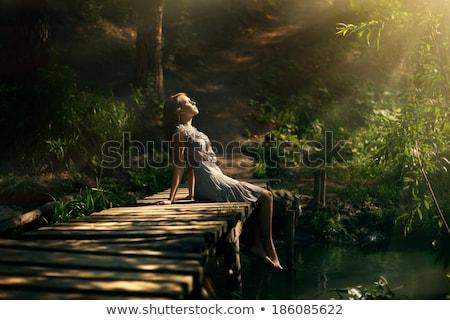 érzéki · ősz · kert · hát · oldal · szexi · lány - stock fotó © konradbak