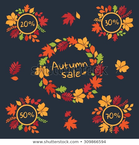 discount or sale emblems set with autumn leaves stock photo © robuart