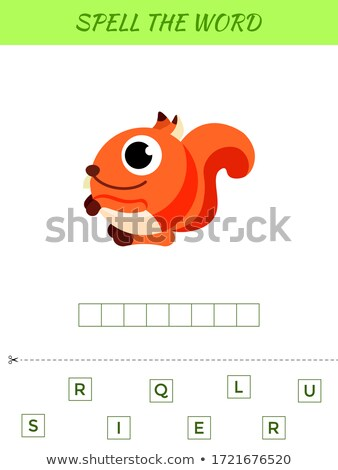 spelling word scramble game template with word squirrel stock photo © colematt