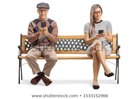 люди сидеть скамейке пенсионер женщину человека Сток-фото © studiostoks