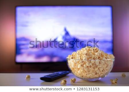 patlamış · mısır · çizgili · küvet · örnek · beyaz · kâğıt - stok fotoğraf © colematt