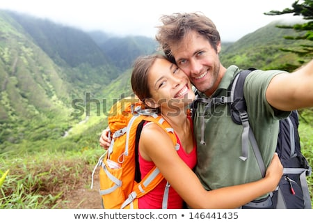 Man Taking Selfie Photo Young Romantic Couple Forest Outdoor Stock photo © Lopolo