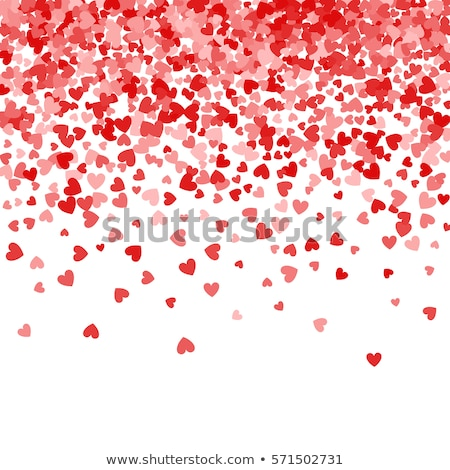 Red pattern of random falling hearts confetti. Border design element for festive banner, greeting ca Stock photo © olehsvetiukha