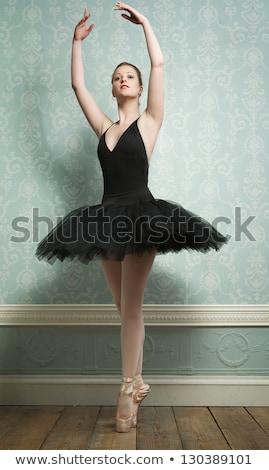 bailarina · vestido · branco · posando · estúdio · azul - foto stock © doodko