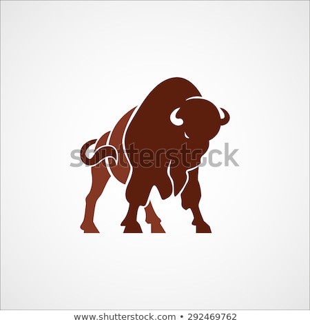 Wild brown bison, buffalo icon, isolated on white background Stock photo © MarySan