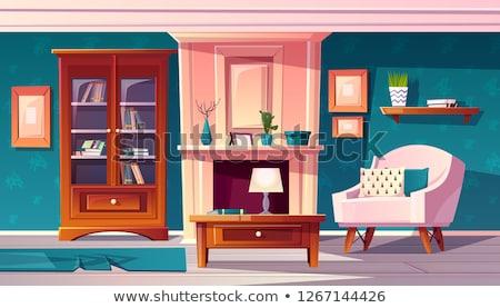 Szoba kandalló fotel asztal vektor zöld Stock fotó © robuart