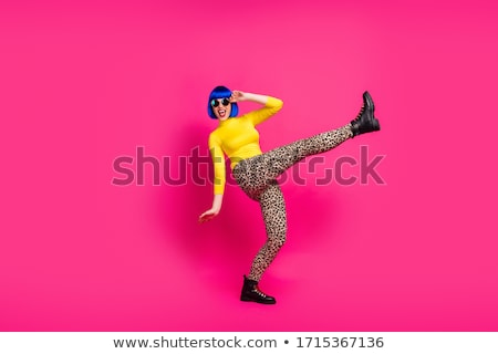Lány rózsaszín nadrág nő diszkó tánc Stock fotó © studiostoks