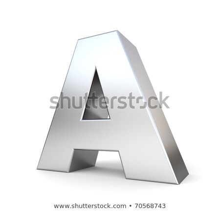 chrome font with colorful reflections letter a 3d stock photo © djmilic