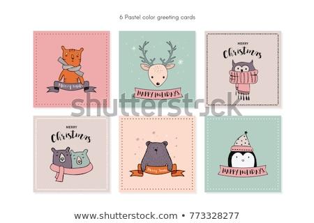 かわいい ベクトル 幸せ カード 面白い キツネ ストックフォト © Giraffarte