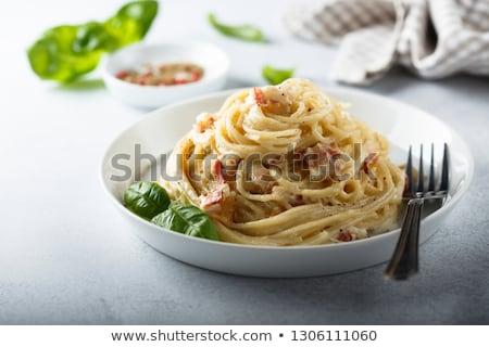 пасты бекон пармезан яйцо сыра обеда Сток-фото © grafvision