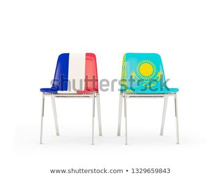 два стульев флагами Франция Казахстан изолированный Сток-фото © MikhailMishchenko